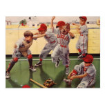 Vintage Sports Baseball Team, Boys in a Food Fight Postcard