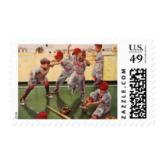 Vintage Sports Baseball Team, Boys in a Food Fight Stamp