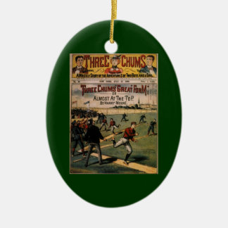 Vintage Sports Baseball Three Chums Magazine Cover Ceramic Ornament