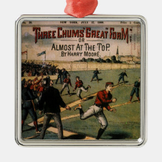 Vintage Sports Baseball Three Chums Magazine Cover Metal Ornament
