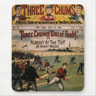 Vintage Sports Baseball Three Chums Magazine Cover Mouse Pad