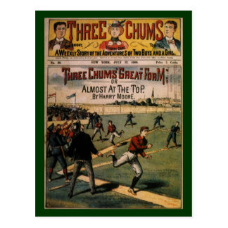 Vintage Sports Baseball Three Chums Magazine Cover Postcard