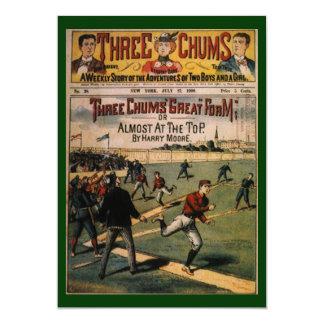 Vintage Sports Baseball, Three Chums Magazine Invitation Cards