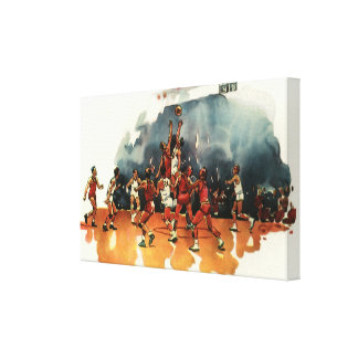 Vintage Sports, Basketball Game, Players on Court Canvas Print