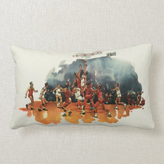 Vintage Sports, Basketball Game, Players on Court Throw Pillow