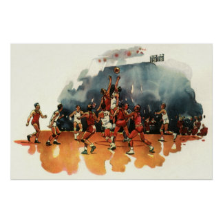 Vintage Sports, Basketball Game, Players on Court Poster