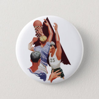 Vintage Sports, Basketball Players in a Game Button