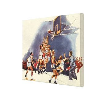 Vintage Sports, Basketball Players in a Game Canvas Print