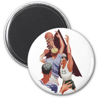 Vintage Sports, Basketball Players in a Game Magnet