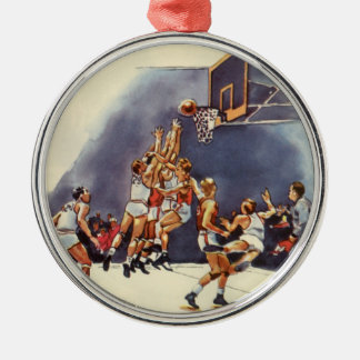 Vintage Sports, Basketball Players in a Game Metal Ornament