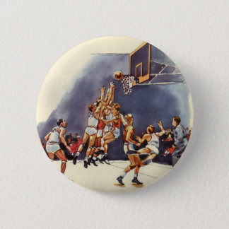 Vintage Sports, Basketball Players in a Game Pinback Button