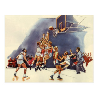 Vintage Sports, Basketball Players in a Game Postcard