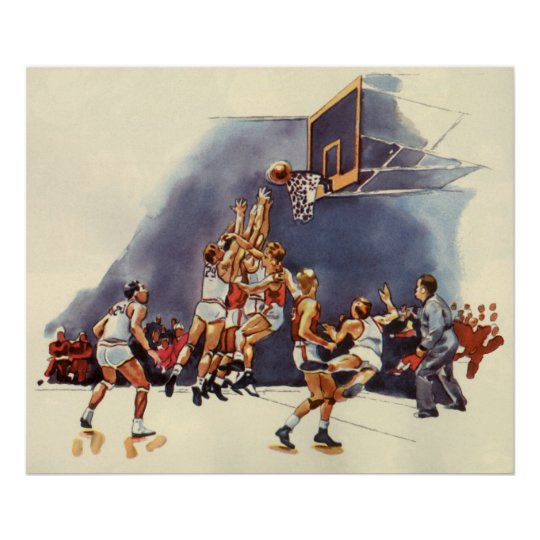 Vintage Sports, Basketball Players in a Game Poster