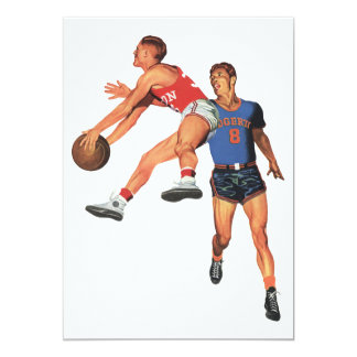 "Vintage Sports, Basketball Players 5"" X 7"" Invitation Card"