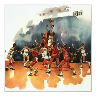 Vintage Sports, Basketball Players Playing a Game Card