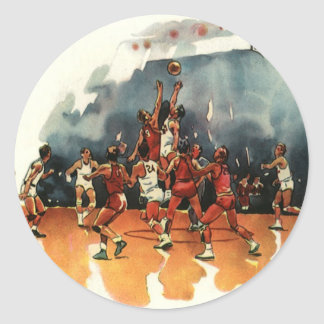 Vintage Sports, Basketball Players Playing a Game Classic Round Sticker