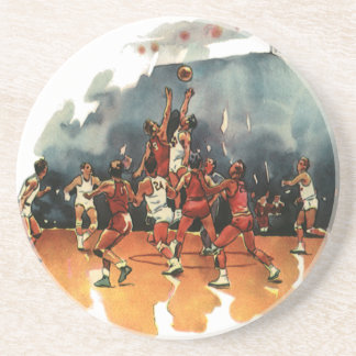 Vintage Sports, Basketball Players Playing a Game Drink Coaster