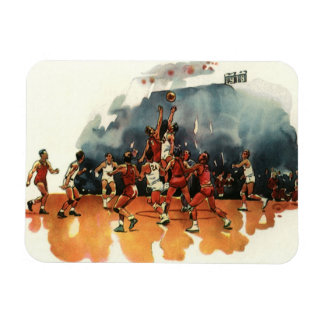 Vintage Sports, Basketball Players Playing a Game Magnet