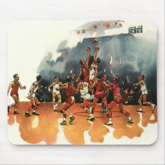 Vintage Sports, Basketball Players Playing a Game Mouse Pad