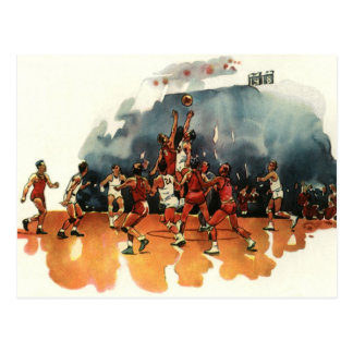 Vintage Sports, Basketball Players Playing a Game Postcard