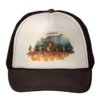 Vintage Sports, Basketball Players Playing a Game Trucker Hat