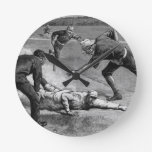 Vintage Sports, Black and White Antique Baseball Round Wall Clock