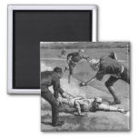 Vintage Sports, Black and White Antique Baseball Magnet