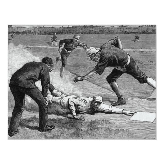 Vintage Sports Black and White Baseball Invitation