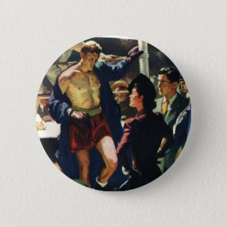 Vintage Sports, Boxer Leaving the Boxing Ring Pinback Button
