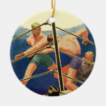 Vintage Sports, Boxers Boxing Match Double-Sided Ceramic Round Christmas Ornament