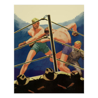 Vintage Sports, Boxers Boxing Match Poster