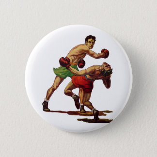 Vintage Sports, Boxers in a Boxing Fight Button