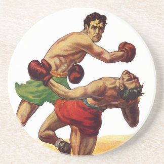 Vintage Sports, Boxers in a Boxing Fight Coaster