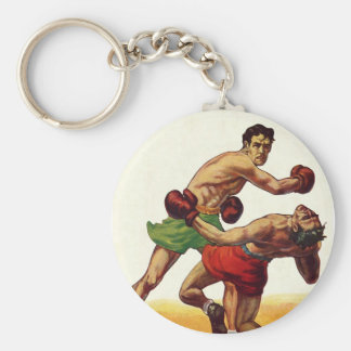 Vintage Sports, Boxers in a Boxing Fight Keychain