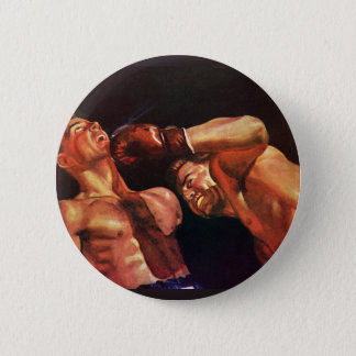 Vintage Sports, Boxers in a Boxing Match Button