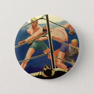 Vintage Sports, Boxers in a Boxing Match Pinback Button