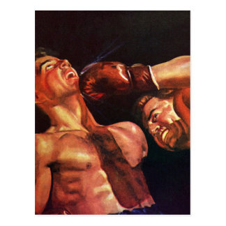 Vintage Sports, Boxers in a Boxing Match Postcard