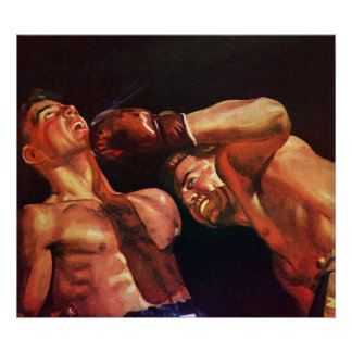 Vintage Sports, Boxers in a Boxing Match Poster