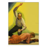 Vintage Sports Boxing, Boxer and Referee Greeting Card