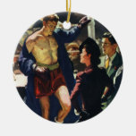 Vintage Sports, Boxing Boxer Double-Sided Ceramic Round Christmas Ornament