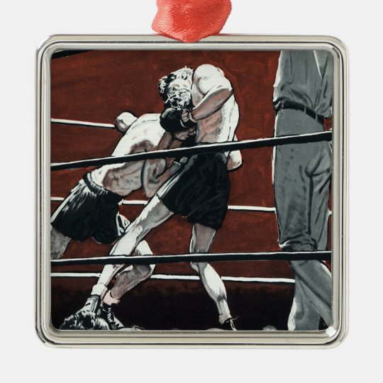 Vintage Sports Boxing, Boxers Fight in the Ring Metal Ornament