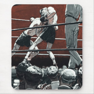 Vintage Sports Boxing, Boxers Fight in the Ring Mouse Pad