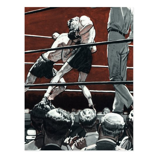 Vintage Sports Boxing, Boxers Fight in the Ring Postcard