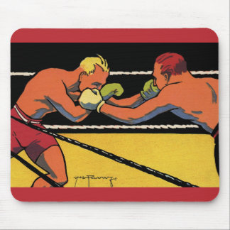 Vintage Sports Boxing, Boxers Fighting in the Ring Mouse Pad