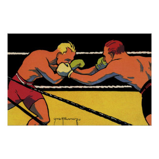 Vintage Sports Boxing, Boxers Fighting in the Ring Poster