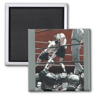 Vintage Sports Boxing, Boxers in the Ring 2 Inch Square Magnet