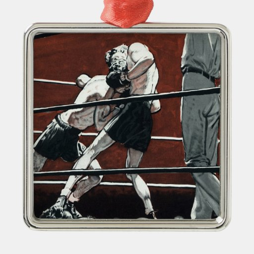 Vintage Sports Boxing, Boxers in the Ring Square Metal Christmas Ornament