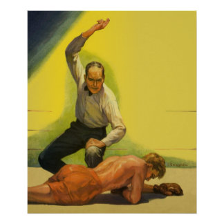 Vintage Sports Boxing, Referee with Boxer Poster