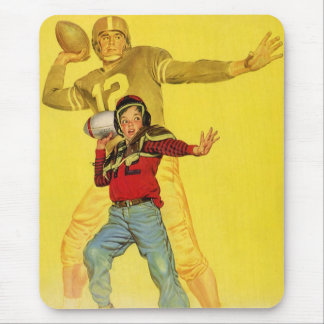 Vintage Sports, Boy as Future Football Quarterback Mouse Pad