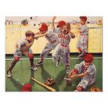 Vintage Sports, Boys Baseball Team, Birthday Party 4.25x5.5 Paper Invitation Card